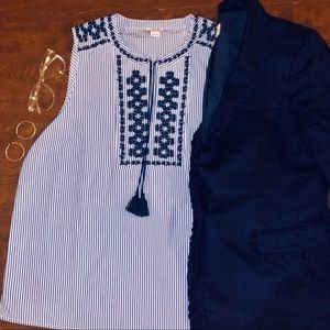 J. Crew Embroidered Stripped Sleeveless Blouse